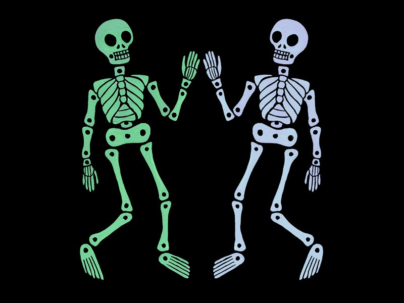 skeleton high five. gouache animation illustration skeleton
