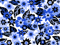 flowers in blue pattern.
