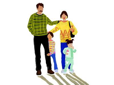 Family Portrait immigration painting portrait family gouache