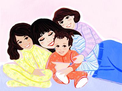 Pijama Snuggle for Bugaboo sisters mom pijama family potrait snuggle day mothers