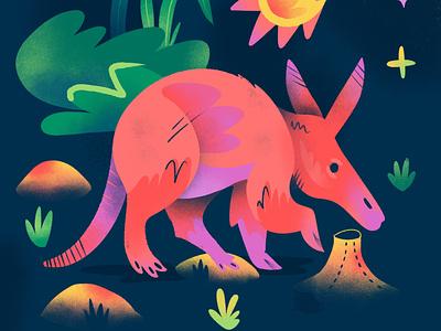 """""""A"""" = Aardvark texture sketch series stars illustration procreate aardvark color"""