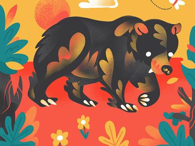 """B"" = Bear foliage flower childrens illustration series childrens book procreate texture alphabet animal bear color nature character illustration"