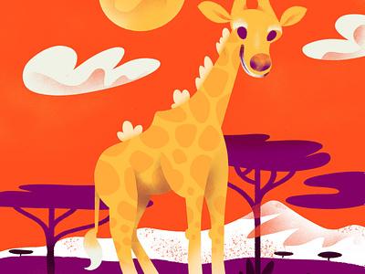 """G""= Giraffe giraffe animal childrens illustration childrens book character alphabet texture series procreate illustration color"