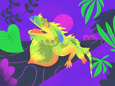 """I"" = Iguana iguana nature animal childrens illustration childrens book alphabet texture series procreate illustration color"
