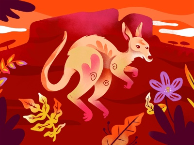 """K"" = Kangaroo flower children plants outback kangaroo nature animal character childrens illustration childrens book alphabet texture series procreate illustration color"