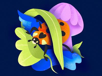 """L"" = Ladybug ladybug bug chiaroscuro contrast mushroom leaves nature character animal alphabet texture series procreate children childrens book childrens illustration illustration color"