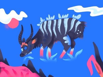"""N"" = Nyala grass nyala character animal childrens illustration childrens book alphabet texture series procreate illustration color"