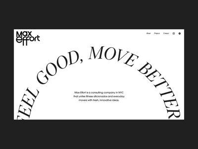 Max Effort Landing Page (Live Now) branding visual motion animation typography interaction ui