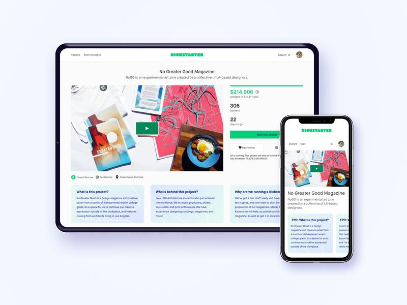 Project summaries (coming soon) gradient crowdfunding kickstarter campaign hierarchy visual design branding ui