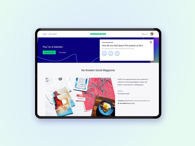 Backer sentiment capture sentiment backer kickstarter input feedback campaign smilies icons branding visual design interaction