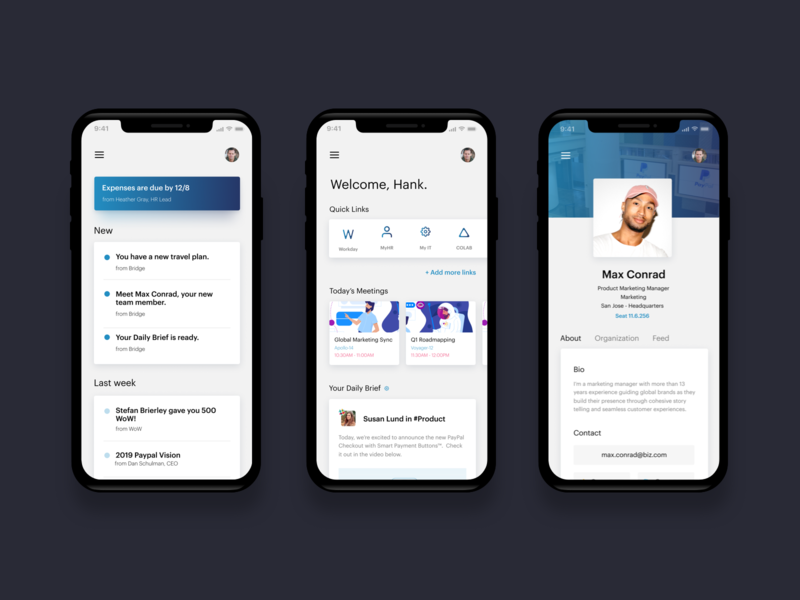 Mobile UI productivity links quick notification alert profile enterprise employee intranet experience visual interface ux ui