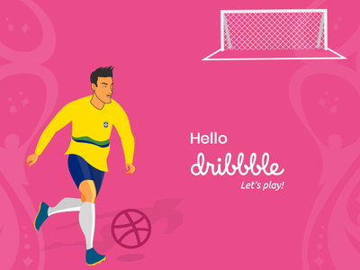 Hello, Dribbblers illustration football dribble hello-dribbble first-short welcome