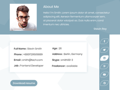Aboutme || Landing Page clean-unique responsive portfolio personal landing-page modern