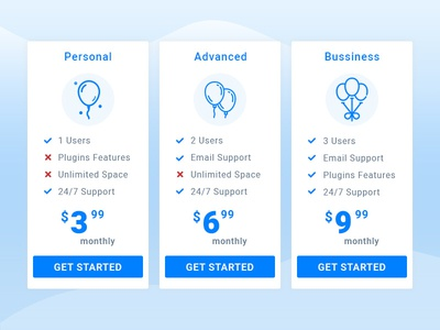 Pricing Plans support featured ui vector icons plans table pricing illustration balloon ball