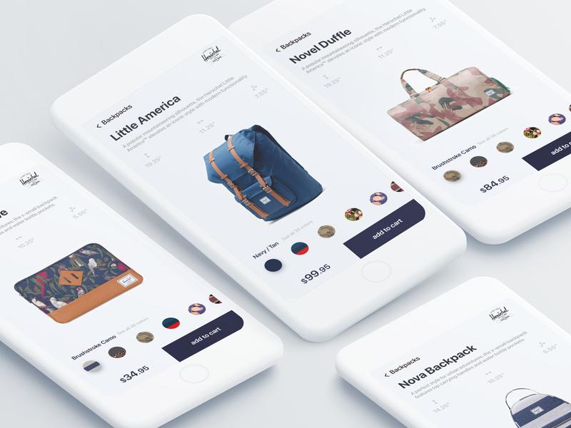 Herschel online store clean ecommerce product backpack light sketch ui