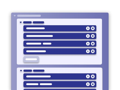 Nested List wireframe ux ui list item list collapsible card button
