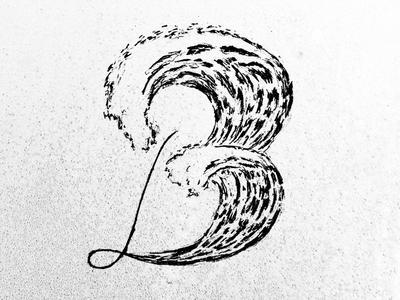 B Waves Dropcap lettering typography hand lettering design illustration