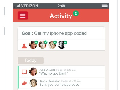 Activity screen for iphone app iphone mobile app design contact screen activity flat red ui notification
