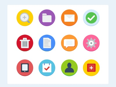 12 Flat Icons - Free 12 flat icons free psd comment email envelope checkmark folder magnify trash ipad calendar