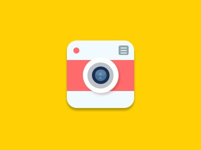 Flat Camera Icon - free PSD!  free psd icon camera flat red picture yellow instagram lens symbol