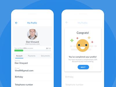 My Profile profile mobile social user congrats celebrate ux ui ios app