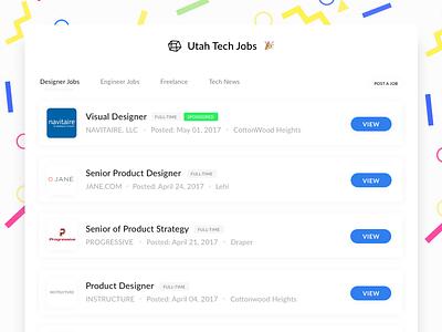 Utah Tech Jobs  clean minimal layout innovation future jobboard jobs tech utah ui app web app