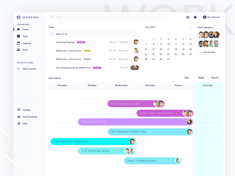 Team dashboard UI team task clean minimal interface user interface user pastel light ui dashboard