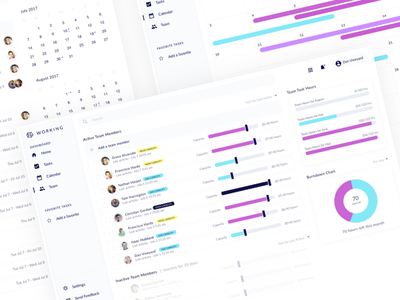 Team Dashboard UI team dashboard ui calendar desktop app web app web capacity light minimal clean