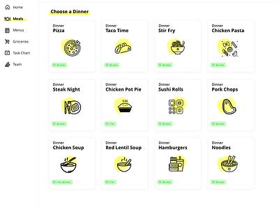 Web App UI - Collab meal menu food visual design ux design user interface ui app web app dashboard