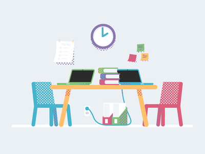 Project work books notebooks laptops university workplace flat patterns dots desk work group project