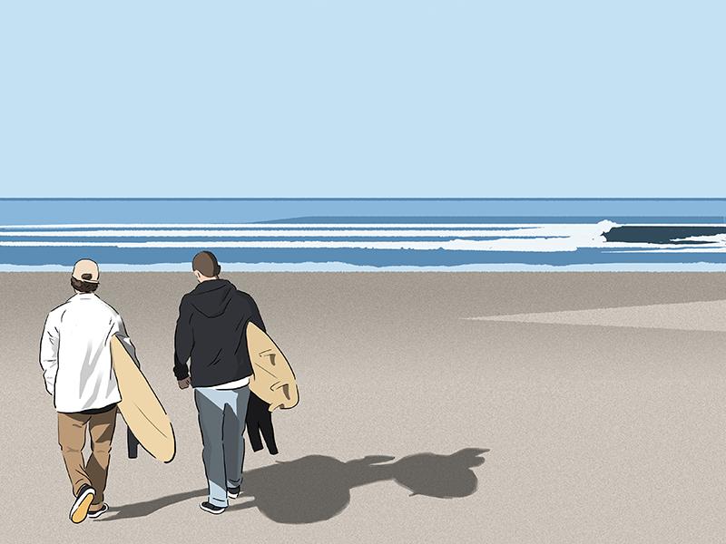 Good Friends,  Good Rides,  Good Vibes. landscape cartoon drawing artwork illustration