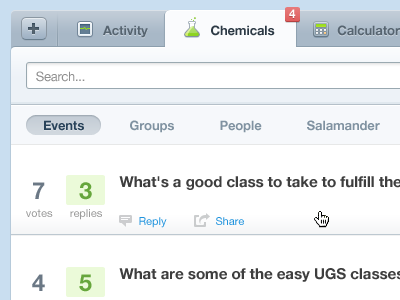 Tabbing Mockup tabs blue green search input hover icons