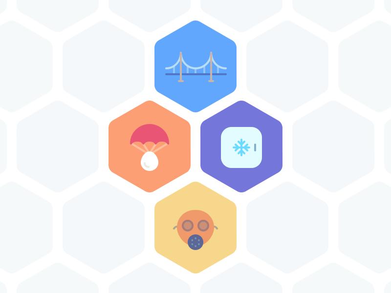 Science Challenge Badges challenge cooler mask bridge egg parachute svg hexagon competition science badges icons