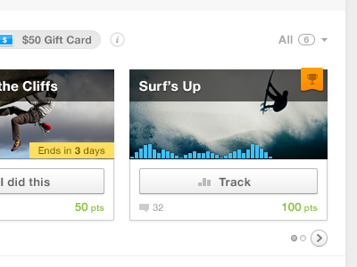 Surf's Up Challenge tracking sparkline filter reward points button trophy icon pager graph photos surf