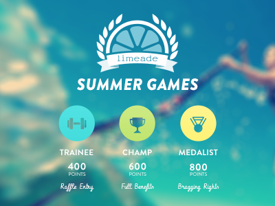 Limeade Summer Games olympics summer lime olive wreath ribbon games water weight dumbbell trophy medal levels