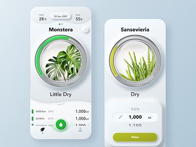Watering Plants App neumorphic plants watering green app ui