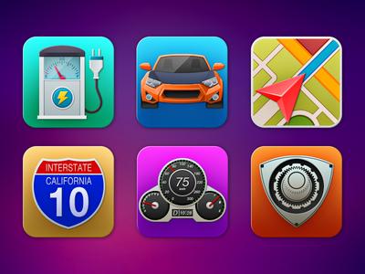 Automotive Icons meter map car vehicle automotive icon