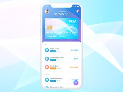 Wallet Concept UI fintech financial wallet visa payment money creditcard ui app