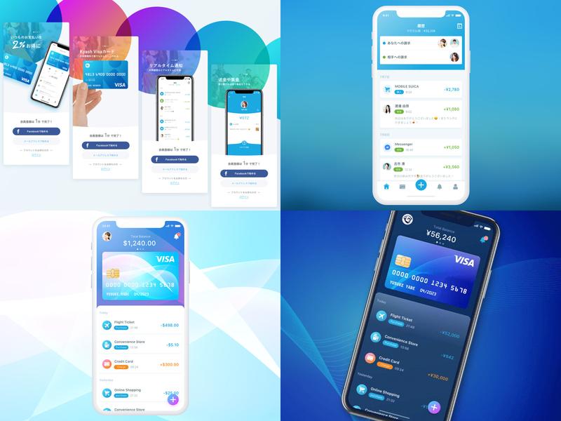 2018 wallet payment money kyash fintech financial credit card ui app