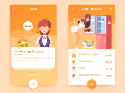 Take-out food APP and Illustration food take-out illustration