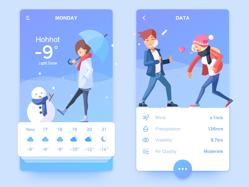 Weather APP and Illustration winter weather illustration