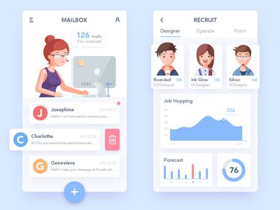 Recruitment APP and Illustration ui recruit email job illustration