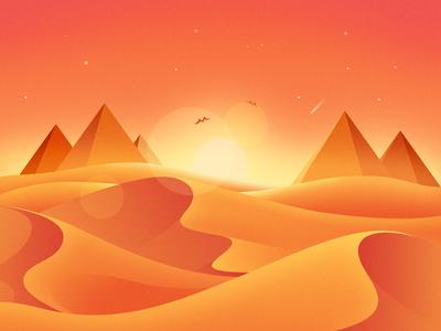 Desert Sunrise light pyramid yellow orange sunrise desert illustration