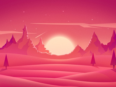 Countryside Sunset red sunset pyramid pink light illustration countryside