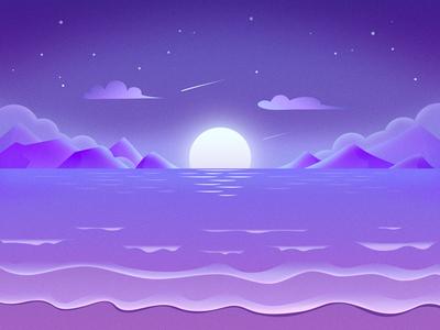 Moonlight Beach moon mountain moonlight violet beach light illustration