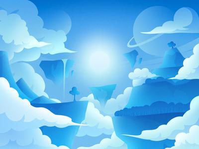 Sky Island star cloud blue sunshine sun light illustration island sky