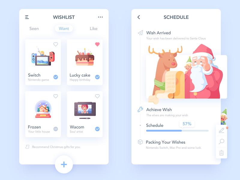 Christmas Wish App and Illustration list reindeer elves wacom cake switch blue illustration ui wish christmas