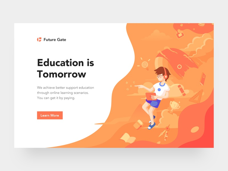 Education Webpage and Illustration book cloud logo whale student web education design orange ui illustration