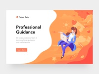 Education Webpage and Illustration star orange teacher rocket web ui logo illustration education design cloud book