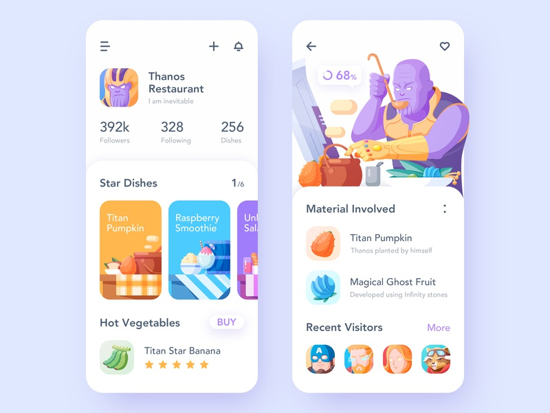 Thanos Cooking wine barrel vegetables ui thor thanos rocket raccoon purple pot popcorn melon illustration ice cream fruit captain marvel captain america bread banana avengers